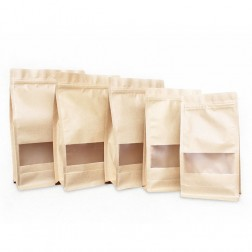 3D Heat Sealable Flat Bottom Stand Up Kraft Paper Food Grade Zipper Bags Pouches With Matte Window