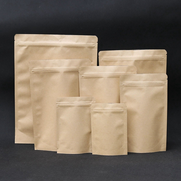 Heat Sealable Stand Up Kraft Paper Zipper Bags Pouches with Food Grade Aluminium Foil Liner