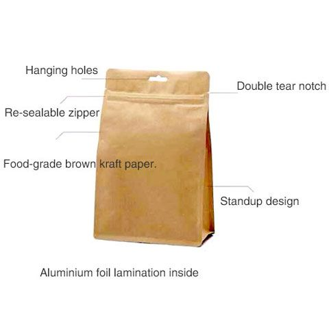3D Flat Bottom Stand Up Kraft Paper Zipper Bags with Food Grade Aluminium Foil Liner