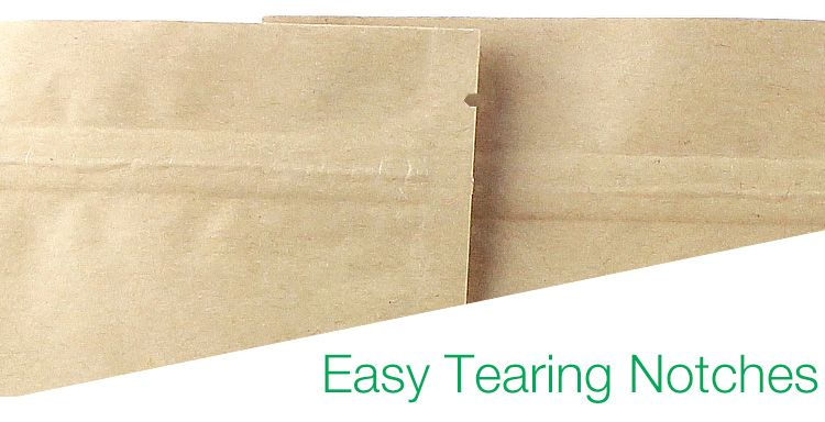 Heat Sealable Stand Up Kraft Paper Food Grade OPP/PE/CPP Coated Zipper Bags Window Pouches